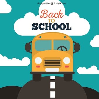 Back to school background with yellow bus