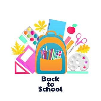 학교로 돌아가다. 배낭 및 학생 용품. 아이들의 창의력을 위한 문구 및 아이템.