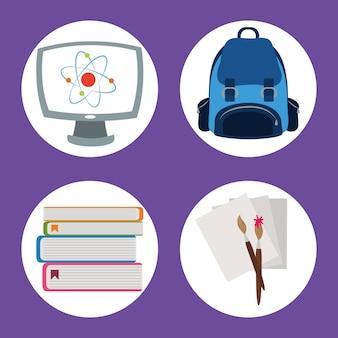 Обратно в школу, рюкзак компьютерная кисть бумаги начальное образование иконки иллюстрации