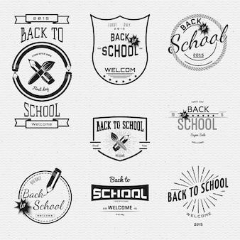 学校に戻るバッジのロゴとラベル