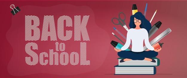 Снова в школу баннер. девушка в очках сидит на стопке книг. канцелярские товары, кожаные ножны, ручки, карандаши, фломастеры, линейка. концепция начала школьного сезона. вектор.