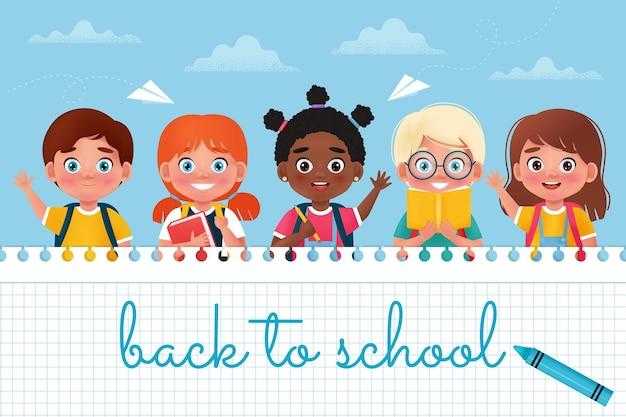 学校のバナーに戻る興奮した幸せな生徒の子供たち漫画の3dスタイルのベクトル図