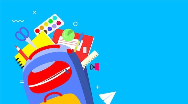 학교 배너, 평면 디자인, 배경 템플릿 벡터 일러스트 레이 션 돌아가기. 배낭에 다채로운 학용품입니다. eps10.