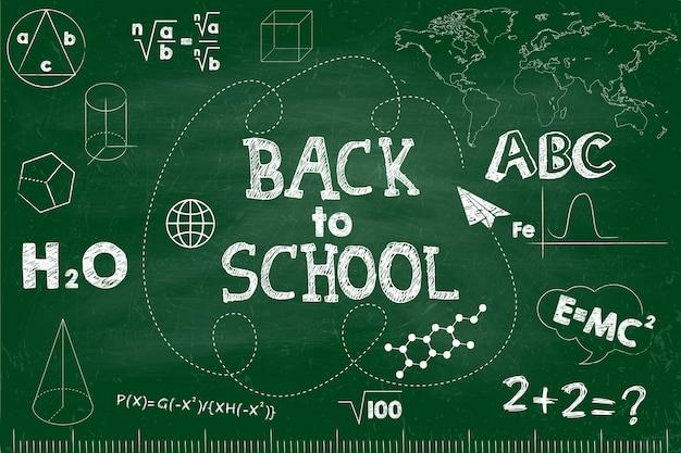 Снова в школу баннер. зеленая школьная доска с надписями.