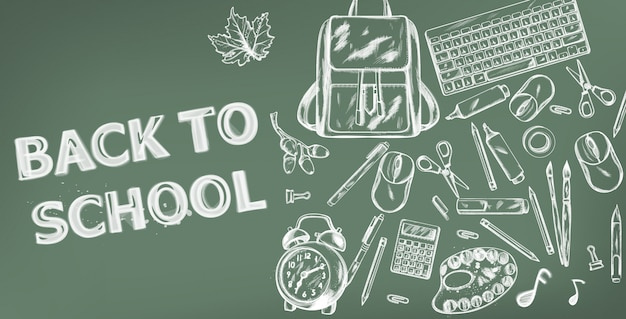 학교 배너 돌아 가기. 판매 학교 용품 홍보 광고 포스터. 분필 윤곽선 그리기 텍스처