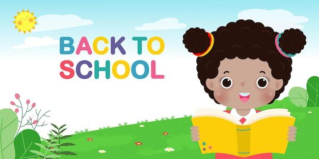 Обратно в школу баннер шаблон дети читают книгу образовательная концепция для рекламной брошюры