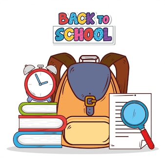 Обратно в школу баннер с рюкзаком и значками учебных принадлежностей