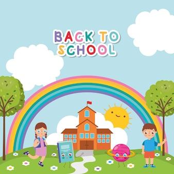 Снова в школу баннер с детьми на открытом воздухе в школьном мультфильме. векторная иллюстрация
