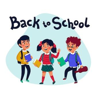 Снова в школу баннер с красочными забавными школьными персонажами, предметы образования и место для текста в фоновом режиме. иллюстрация.