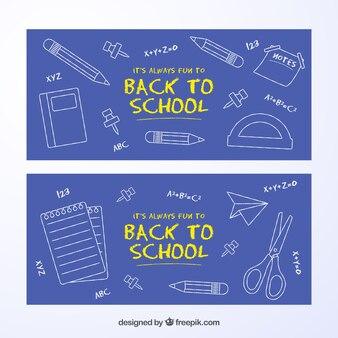 学校のバナーに戻って、黒板スタイルのコレクション