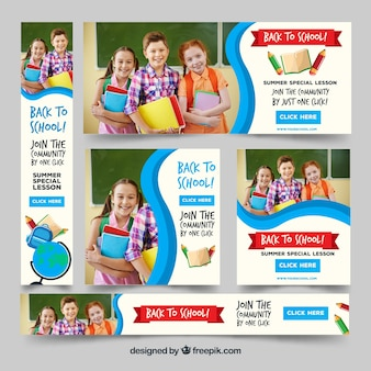 Back to school banners collection with photography