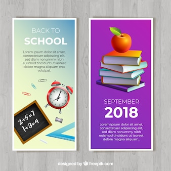 Back to school banners in detailed style