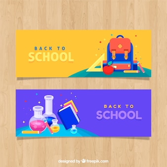 Back to school banners in flat style