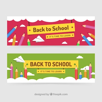 Back to school banners with colored pencils