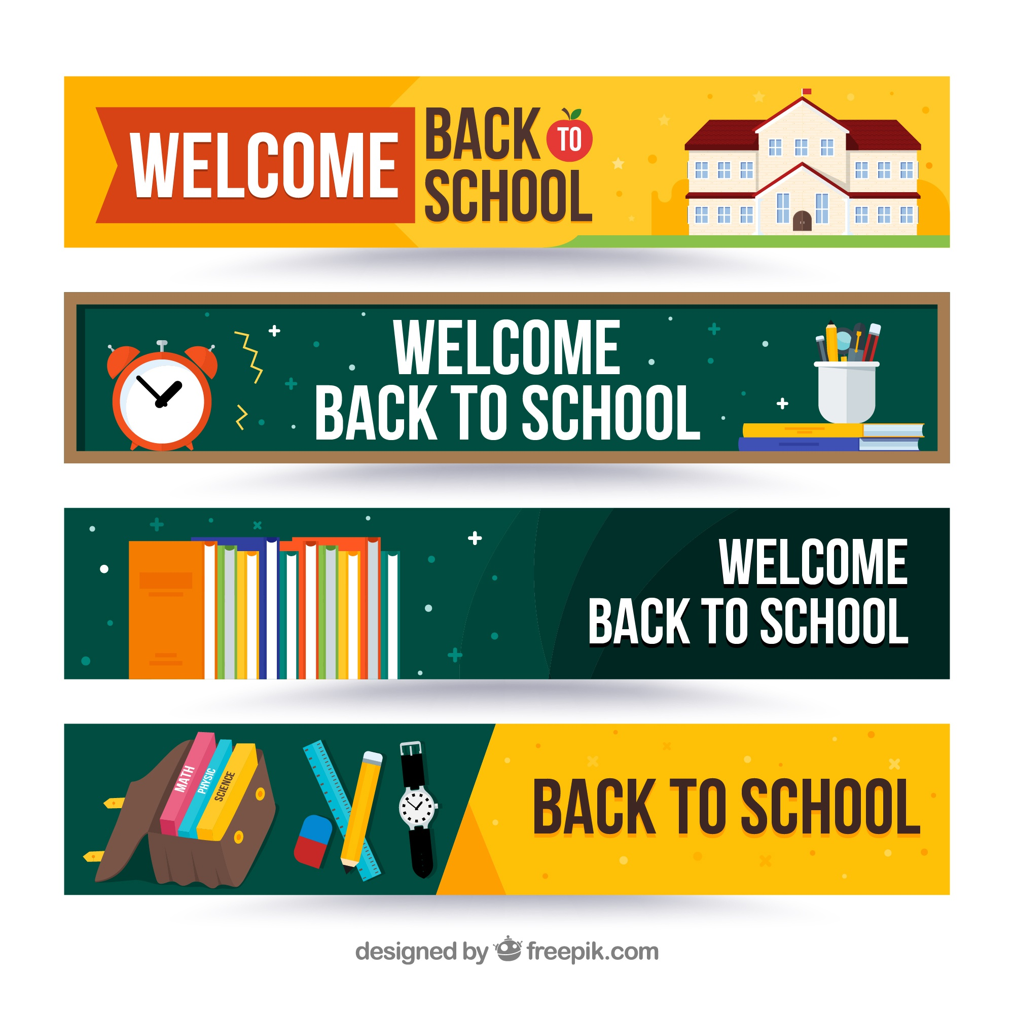 Back to school banners with elements