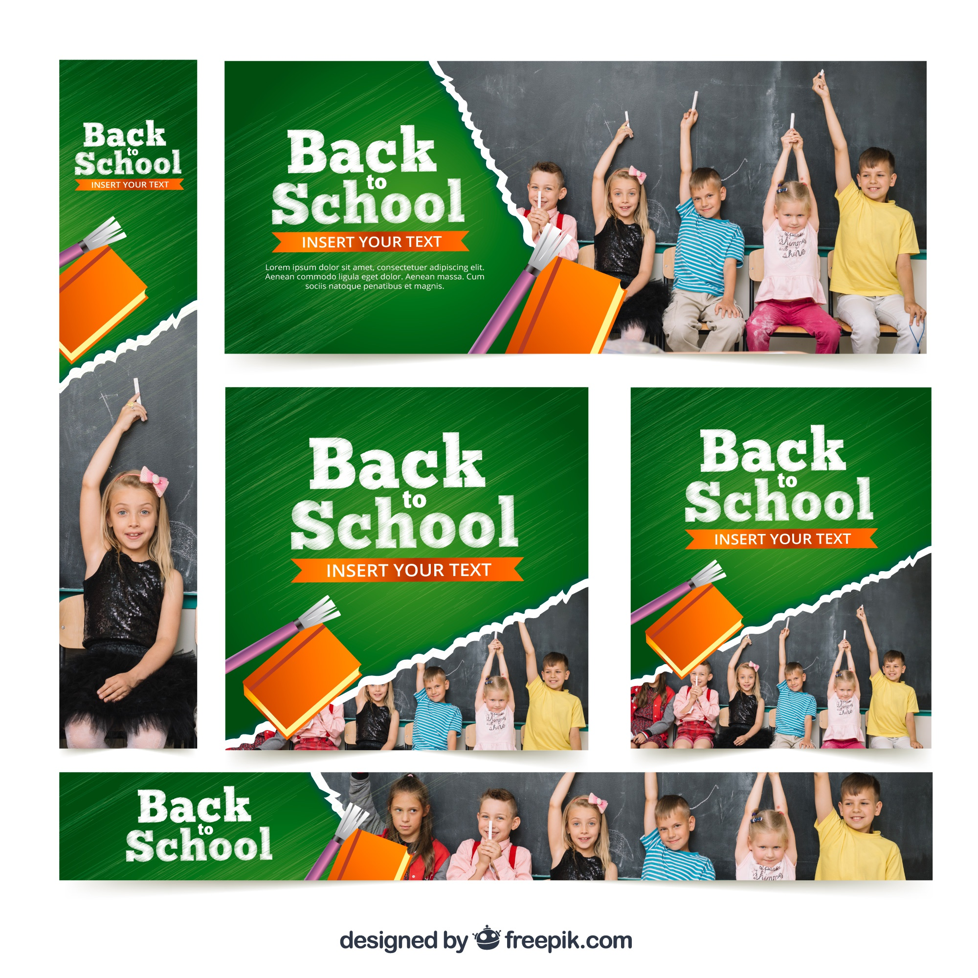Back to school banners with photos