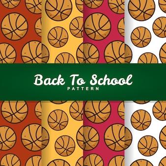 学校バスケットボールボールのシームレスなパターンに戻って