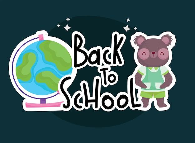학교 곰 만화 및 세계 디자인, 교육 수업 및 수업 테마로 돌아 가기