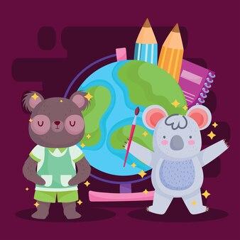 다시 학교로 곰 코알라와 세계 구 디자인, 교육 수업 및 수업 테마