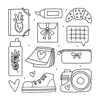 学校に戻る大きなクリップアート。オフィス用品、文房具。落書きデザイン。