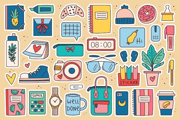 Снова в школу большой картинки, набор элементов. офисные принадлежности, канцелярские товары. красочный дизайн каракули.