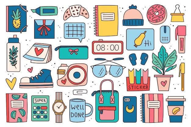 Снова в школу большой картинки, набор элементов, наклейки. офисные принадлежности, канцелярские товары. красочный дизайн каракули.