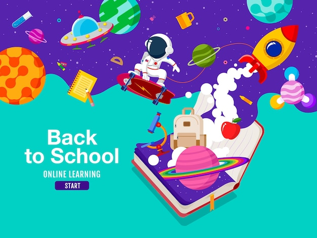 Снова в школу, книжное вдохновение, онлайн-обучение, плоский вектор дизайна.