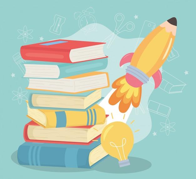 Обратно в школу, книги ракета и лампочка образования мультфильма