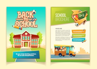 Back to school brochure cartoon template, educational leaflet with happy kids
