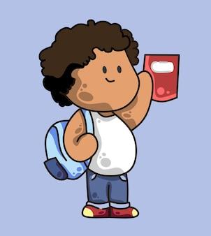 学校に戻る幸せそうな顔で立っている茶色の肌とカールした髪の男の子の学生