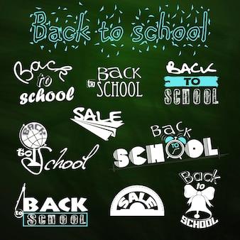 학교로 돌아가다. 붓글씨 디자인. 판매. 벡터 세트
