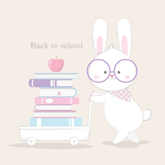 Back to school card cute bunny hand drawn style vector.