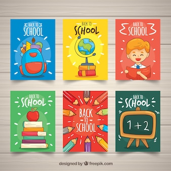 Back to school cards collection with elements