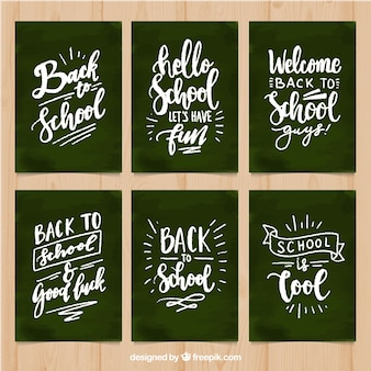 Back to school cards collection with lettering