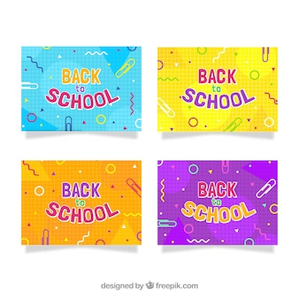 Back to school cards collection with shapes