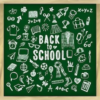 戻る学校黒板の背景に