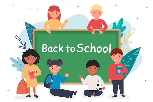 Обратно в школу. дети возле школьной доски. студенты, юноши и девушки. симпатичные персонажи. для вашего дизайна.