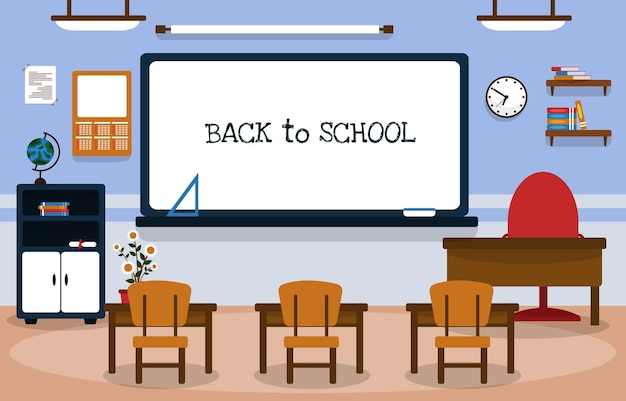 학교 수업 교실 화이트 보드 테이블 의자 교육 삽화로 돌아가기