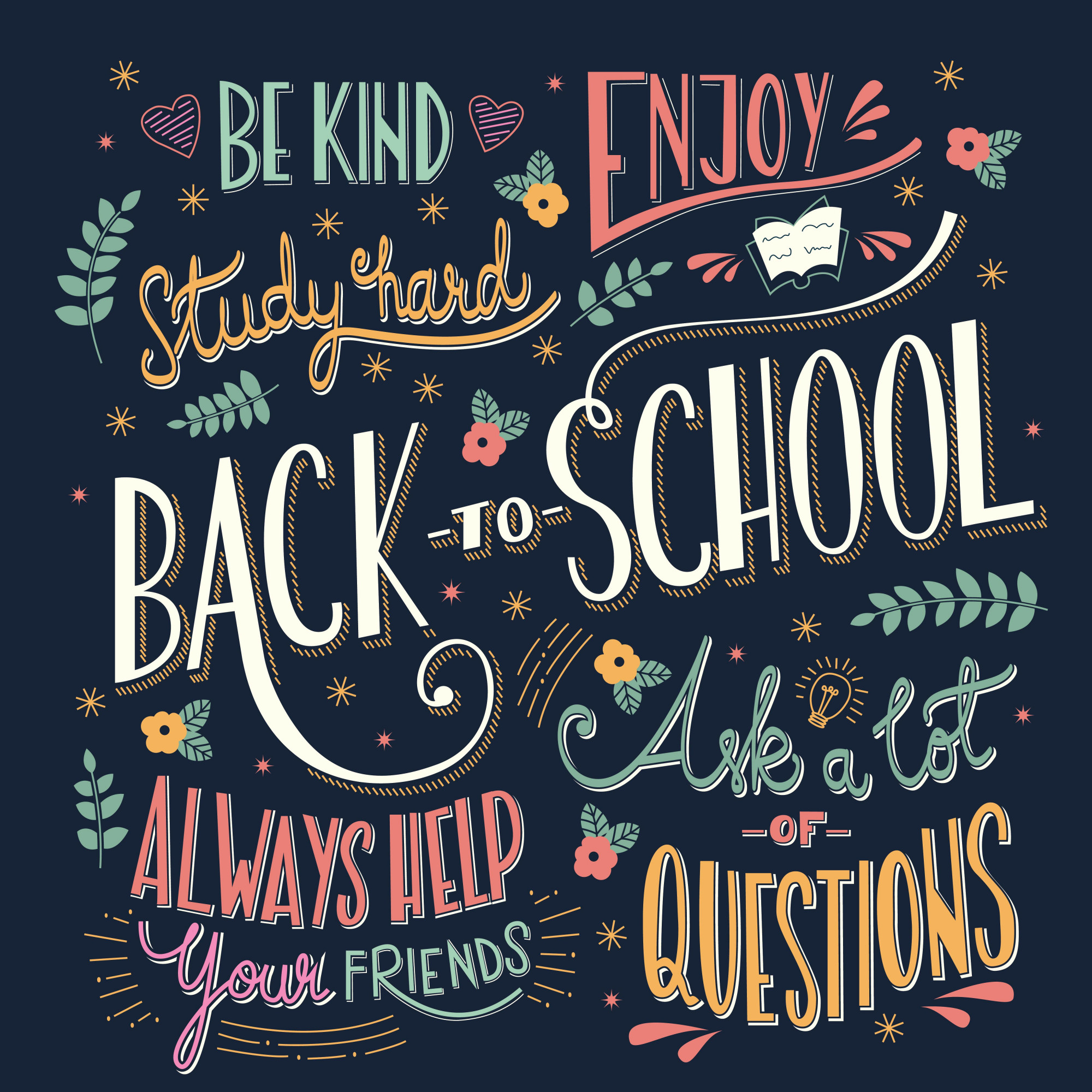 Back to school colorful typography drawing on blackboard
