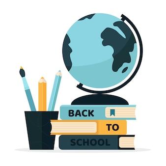 다시 학교로 다채로운 글로브, 책, 연필. 삽화.