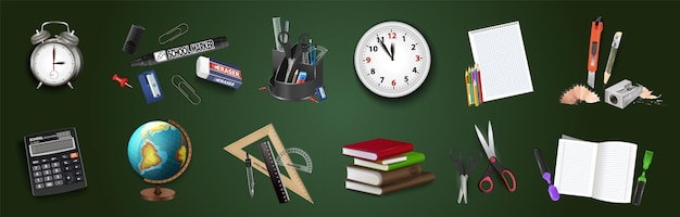 Снова в школу, состав ученических предметов задает векторные иллюстрации. 3d реалистичные линейки, будильник, школьный калькулятор, блокнот, карандаши