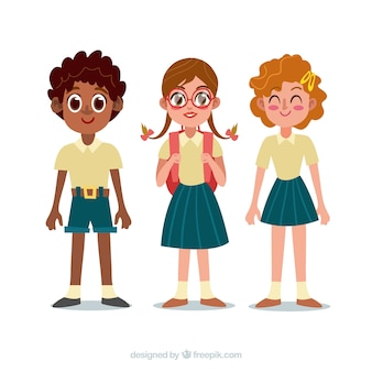 Back to school composition with flat children
