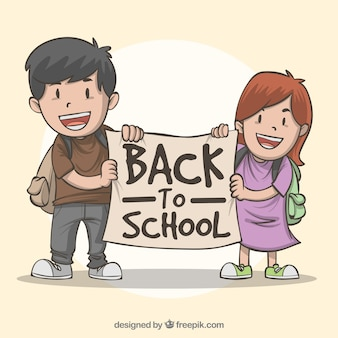 Back to school composition with hand drawn children