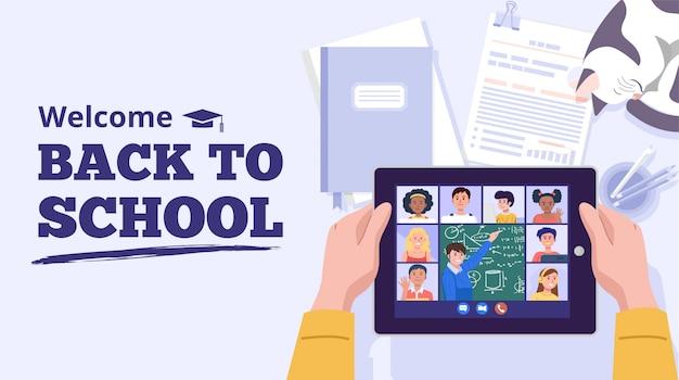 다시 학교 개념. 집에서 컴퓨터로 배우는 소년. 벡터