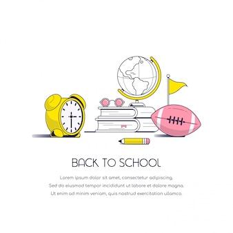 학교 개념 배너 돌아 가기. 책, 안경, 글로브, 연필, 축구 및 알람 시계 흰색 배경에 고립 된 정물화 이미지.