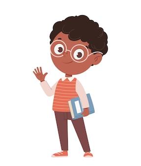Обратно в школу концепции веселый афроамериканский школьник с книгой милый мультипликационный персонаж