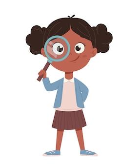Снова в школу концепции веселая афро-американская школьница милый мультипликационный персонаж