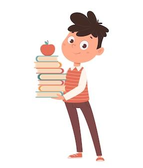 Обратно в школу концепция веселый школьник держит книги забавные герои мультфильмов