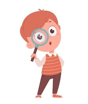 Обратно в школу концепции веселый школьник держит лупу забавный мультипликационный персонаж