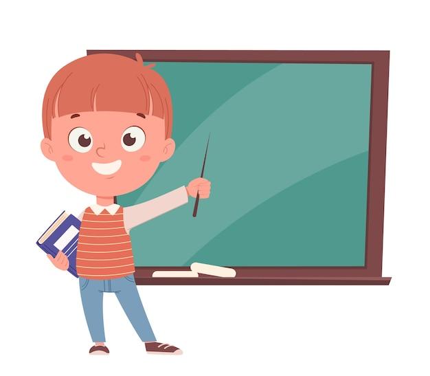 Обратно в школу концепции. веселый школьник держит указатель и книгу и стоит возле доски